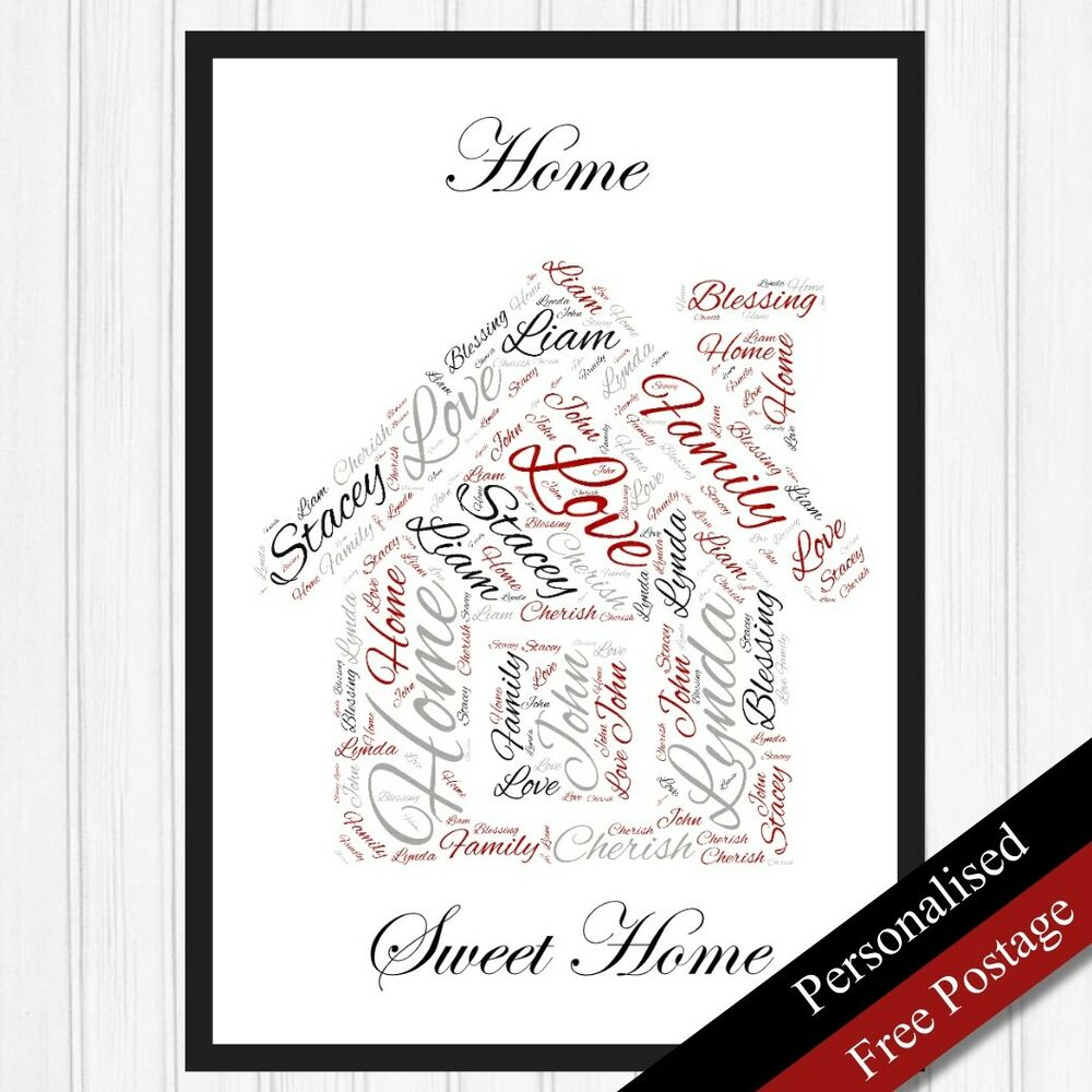 New home family gift personalised word art cloud keepsake for Personalised word art template
