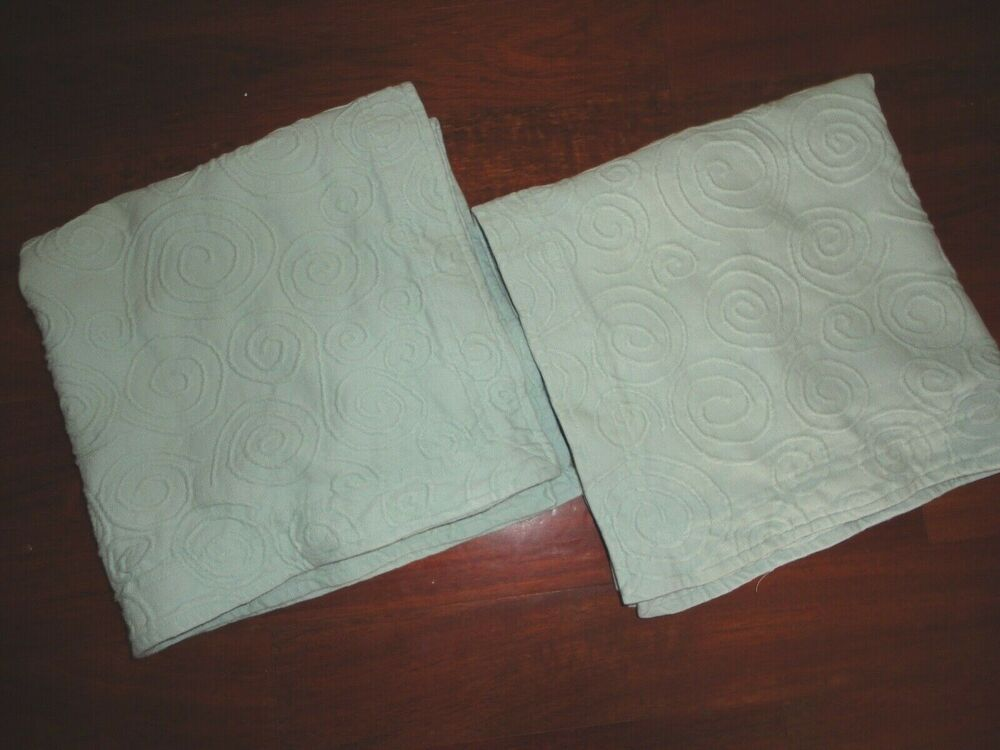 Linen Source Swirls Pair Matelasse Euro Pillow Shams Spa