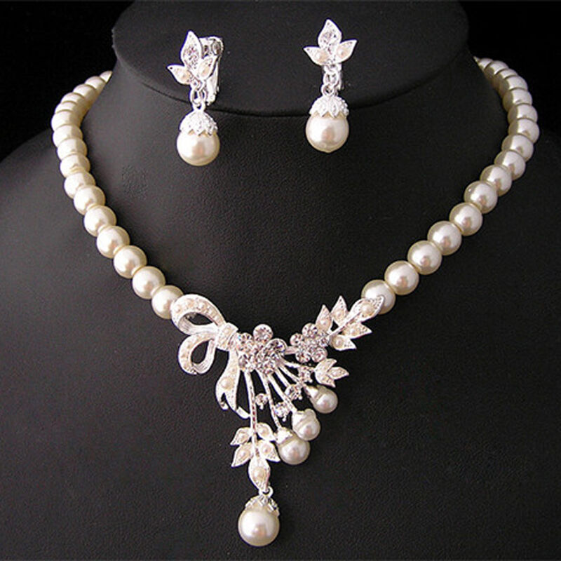 crystal pearl silver plated necklace earrings wedding
