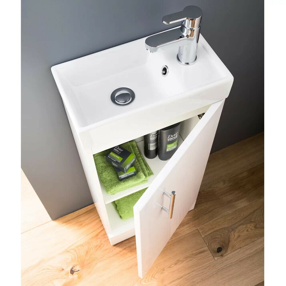 Floor Standing Vanity Unit Basin Sink Bathroom Cloakrooom Compact 400mm White Ebay