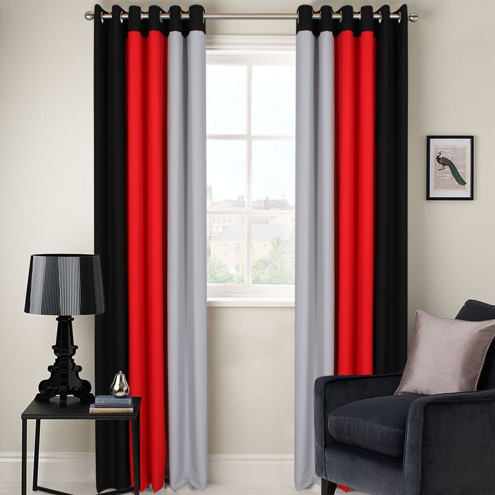 Ring Top Fully Lined 3 Tone Ready Made Pair Of Eyelet Curtains Black Grey Red Ebay
