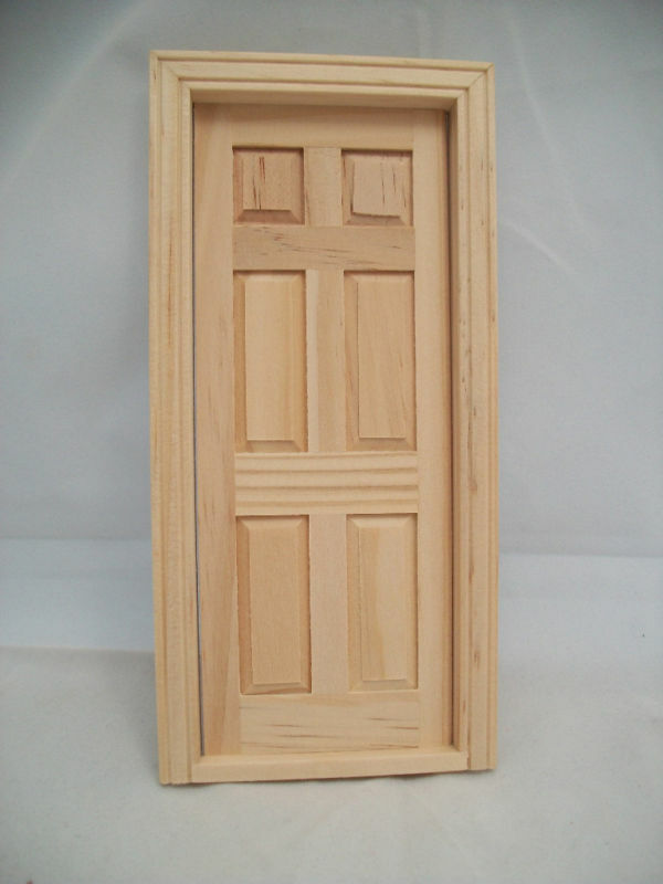 Door 6 panel interior dollhouse miniature wooden 6007 for Wooden fairy doors