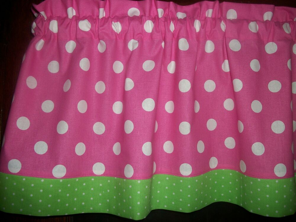 Pink Polka Dot Lime Green Trim Bedroom Fabric Curtain
