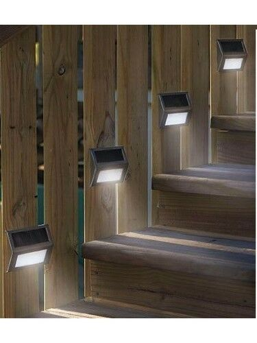 6 New Led Solar Step Lights Patio Deck Staircase Outdoor