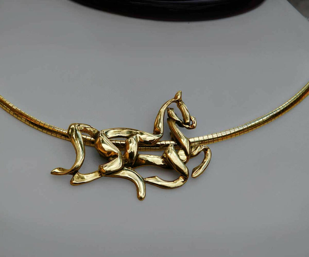 Stunning 14k Gold Celtic Equestrian Horse Pendant Necklace
