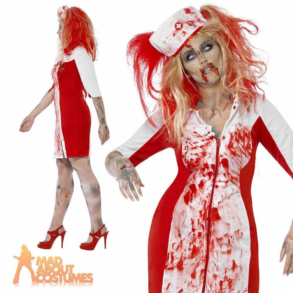 Adult Curves Zombie Nurse Costume Ladies Halloween Fancy ...