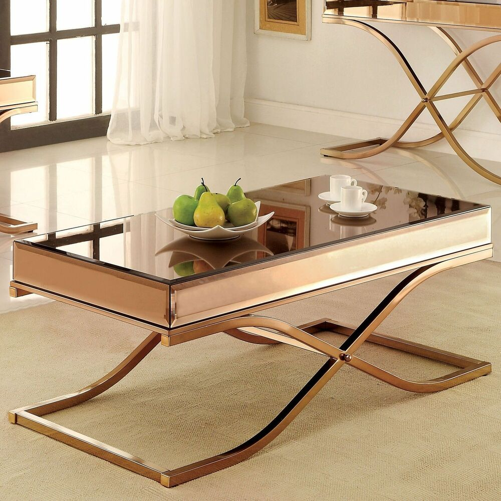 Furniture Of America Orelia Luxury Copper Metal Coffee Table Furniture Home New Ebay