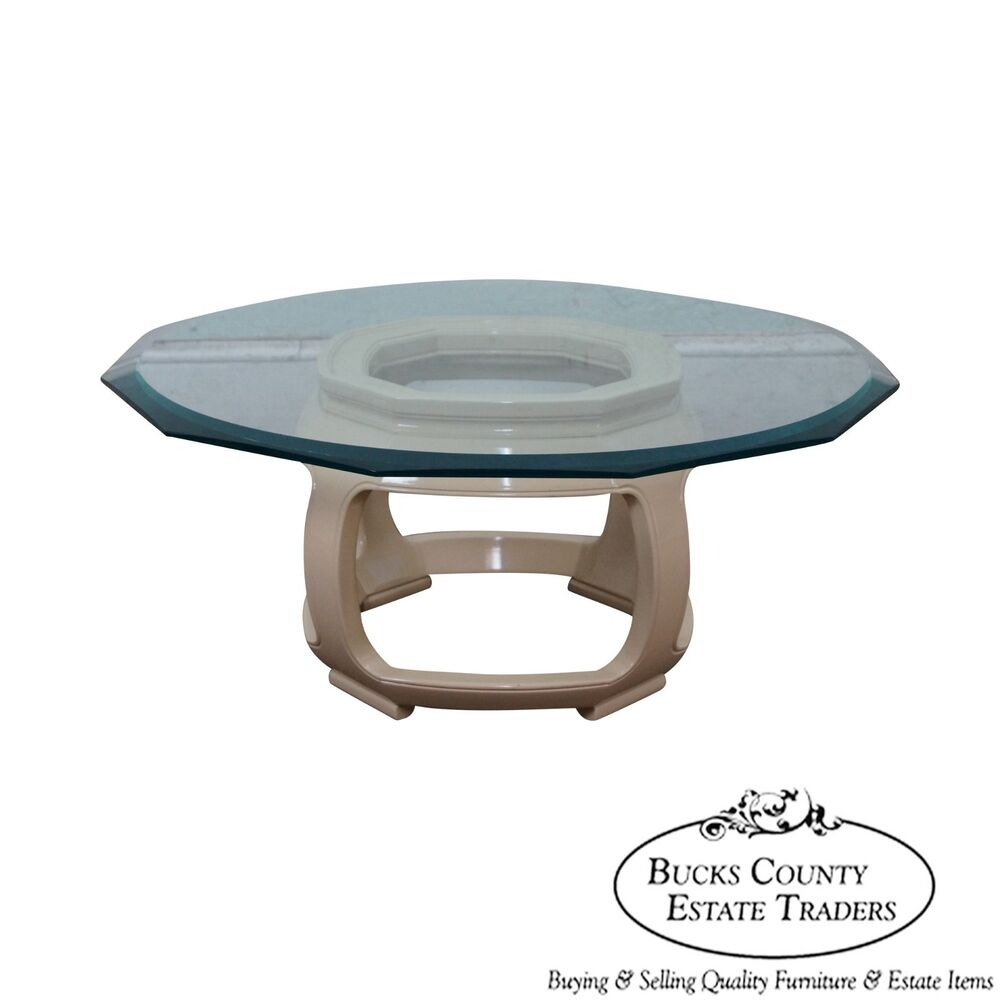 Ebay Coffee Table Bases: Drexel Heritage Asian Inspired Lacquered Base Glass Top
