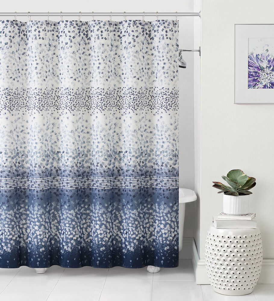 celebration dobby navy blue white striped fabric shower curtain ebay
