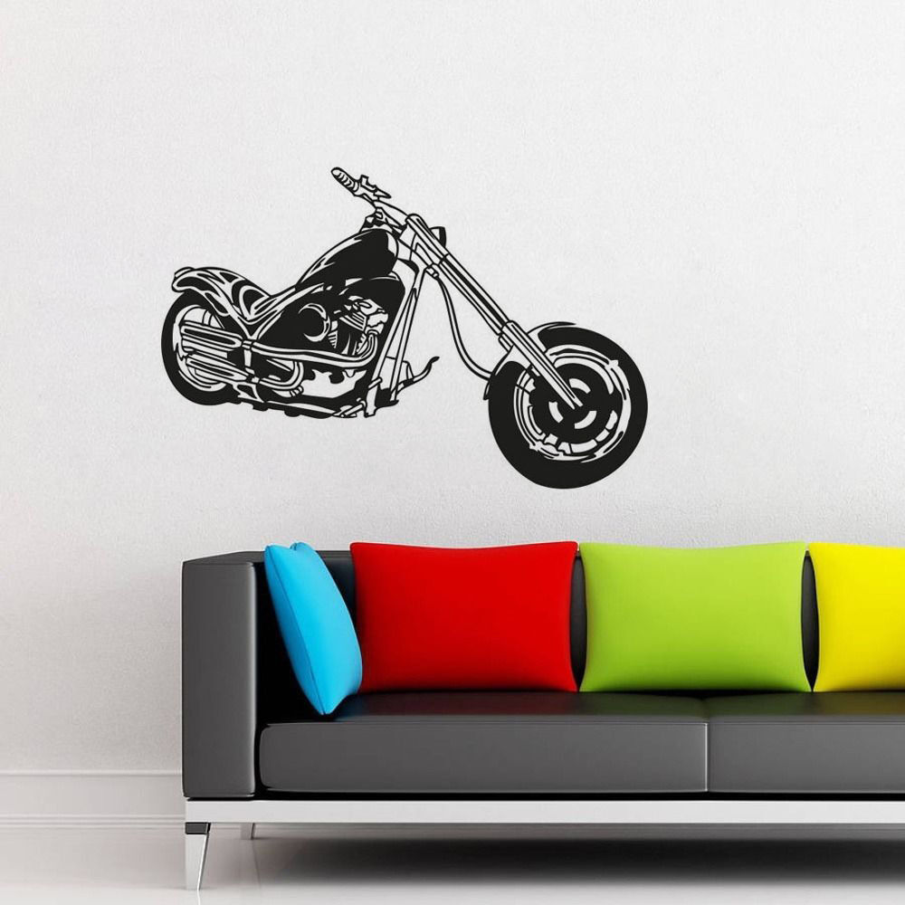 Wall sticker motorcycle motorbike art home vinyl decal for Decal wall art mural