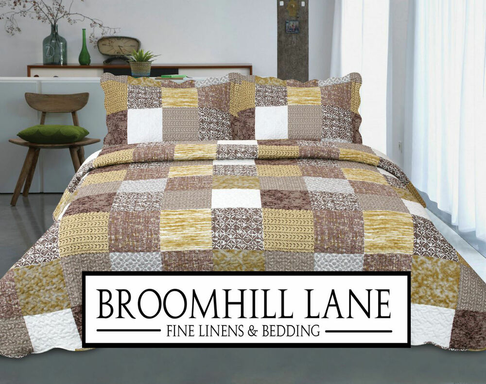 Brand New All Sizes Free Shams Green Brown Vintage