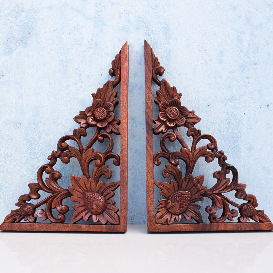 Wooden Gate Wall Decor : Balinese corners lotus flower wooden wall panel headboard