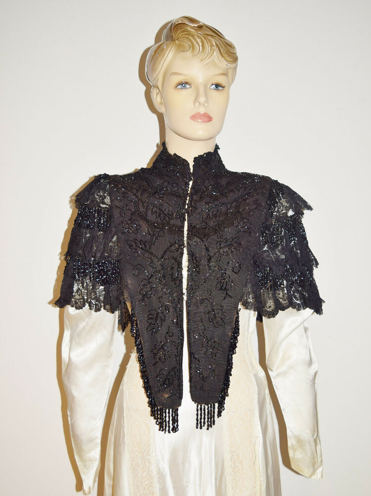 1800s Victorian Silk Glass Beaded Mourning Capelet Antique