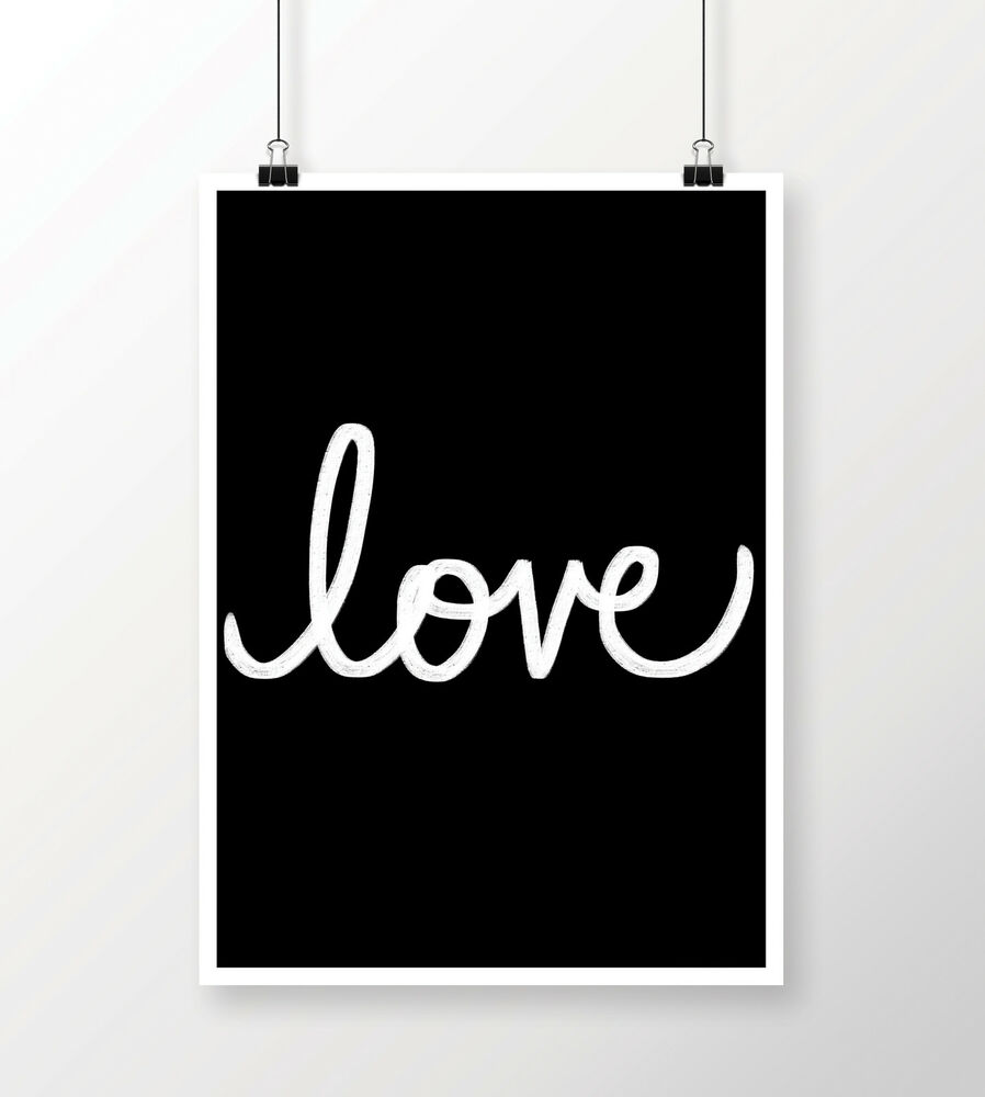 Black And White Quote Wall Decor : Typography love quote print a modern wall art home