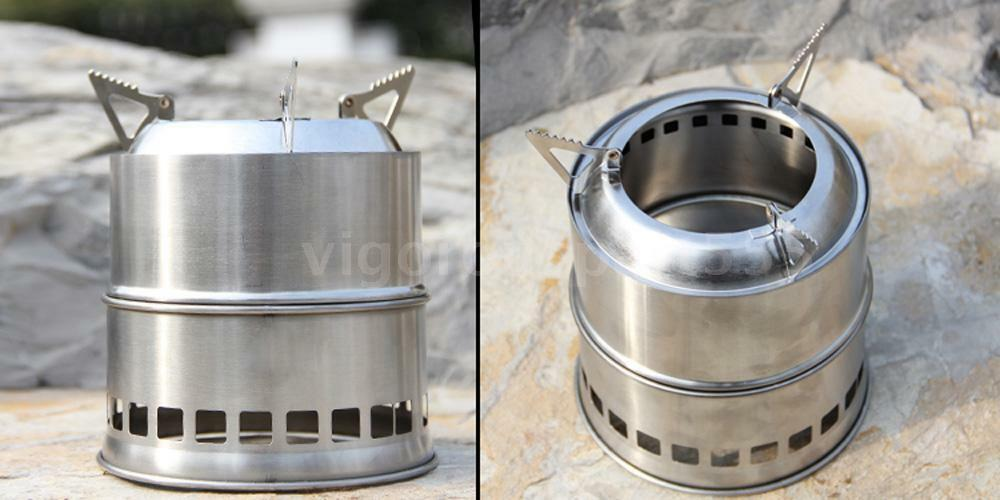 Portable wood stove solidified alcohol stove outdoor for Outdoor wood cooking stove