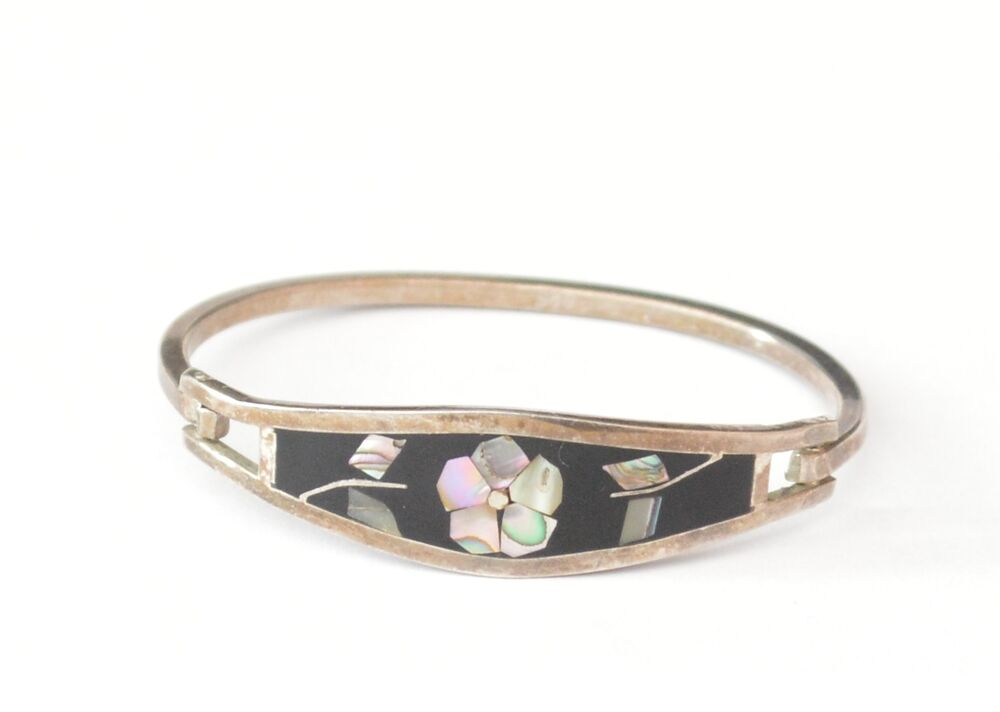 Taxco Mexico Sterling Silver Abalone Shell Inlay Bangle