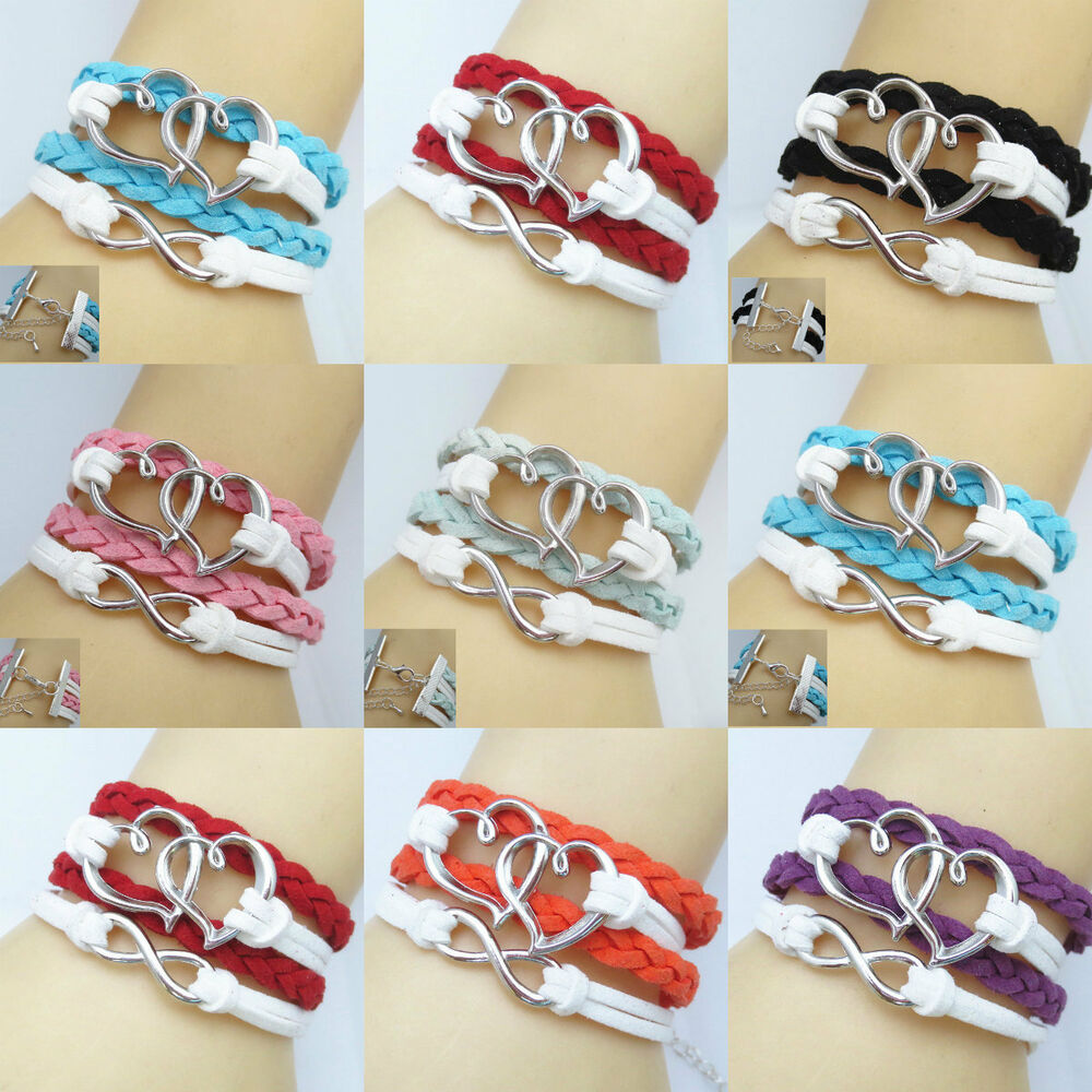 New Diy Lots Color Leather Cute Heart Infinity Charm