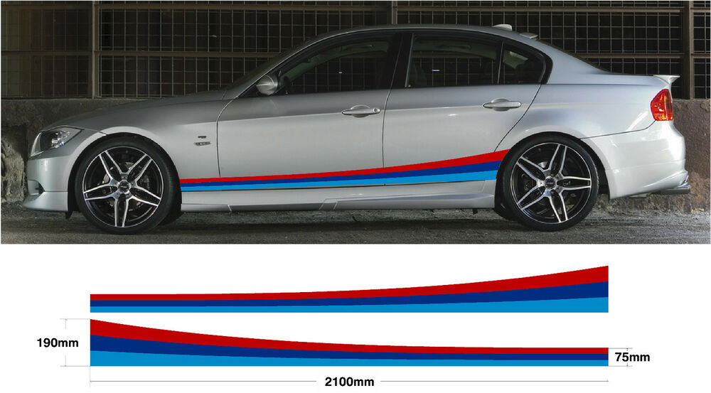 2x Car Decal Graphic Side Stripes Bmw M Sport E30 E36 E39