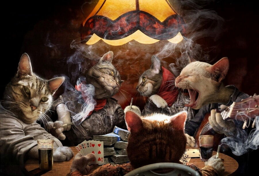 Modern home decor animals cat poker cards game oil for Animals decoration games