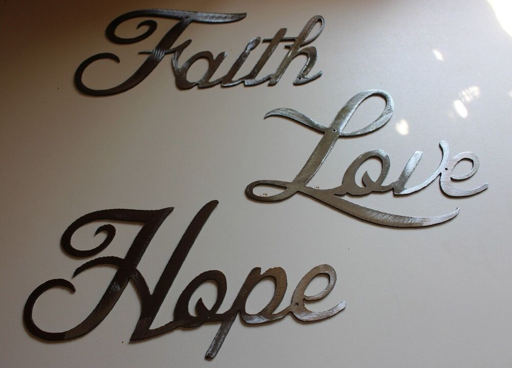 13 love faith hope polished steel words metal wall art for Word wall art