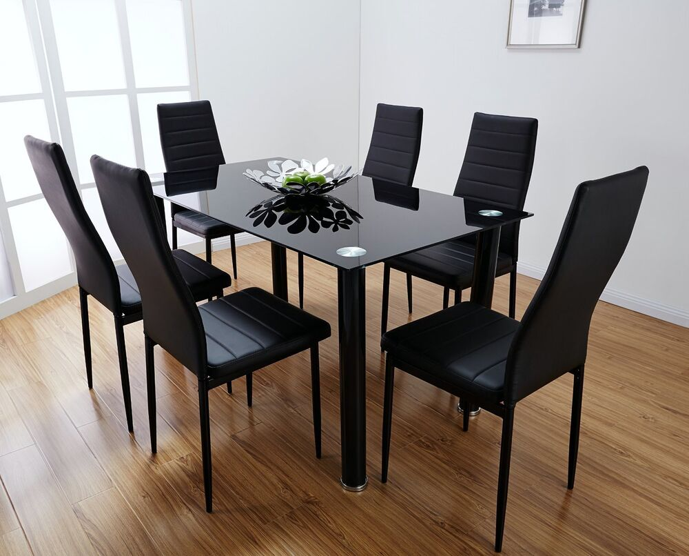 Lunar rectangle glass dining table set and 6 black faux for Six chair dining table set