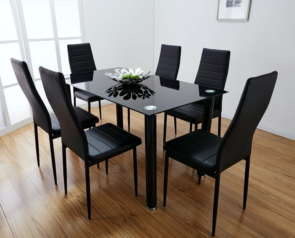 lunar rectangle glass dining table set and 6 black faux leather chairs