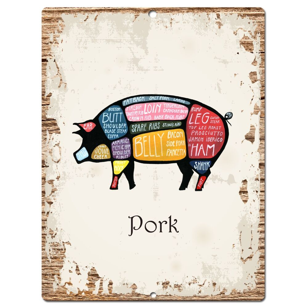 Kitchen Signs Ebay: PP0873 PORK Meat Cuts Parking Plate Chic Sign Home