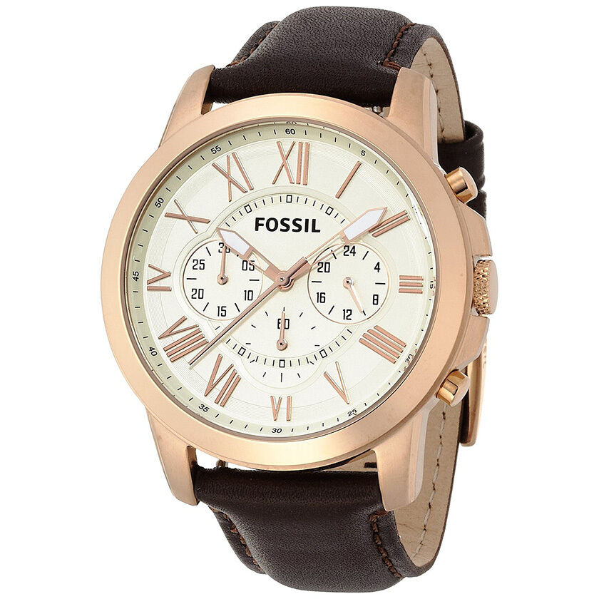 new mens fossil grant rose gold chrono brown leather watch fs4991 rrp 129 ebay. Black Bedroom Furniture Sets. Home Design Ideas