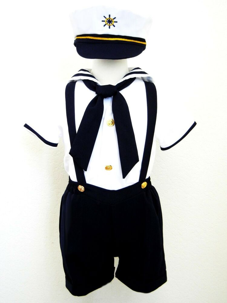Baby Boy Toddler Formal Sailor Suit Outfit Costume White