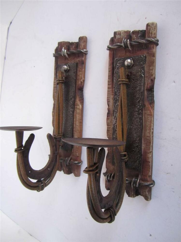Metal Wall Sconces For Candles : Metal horseshoe rustic candle holder sconce wall plaque western decor lot of 2 eBay