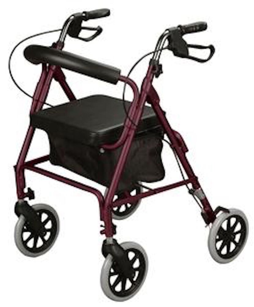 Cardinal health rollator rolling walker w curved back soft seat mt25