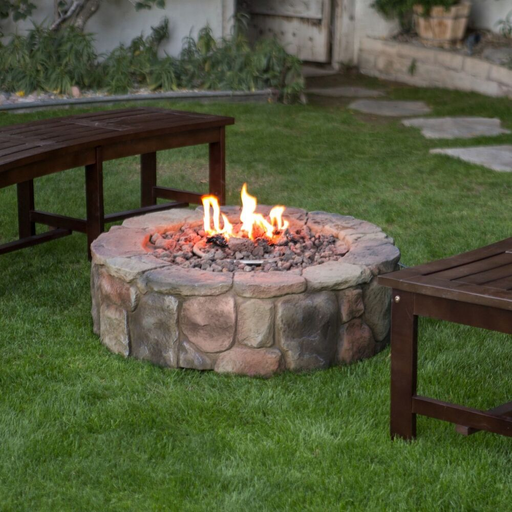 fire pit backyard patio deck stone fireplace campfire gas heater