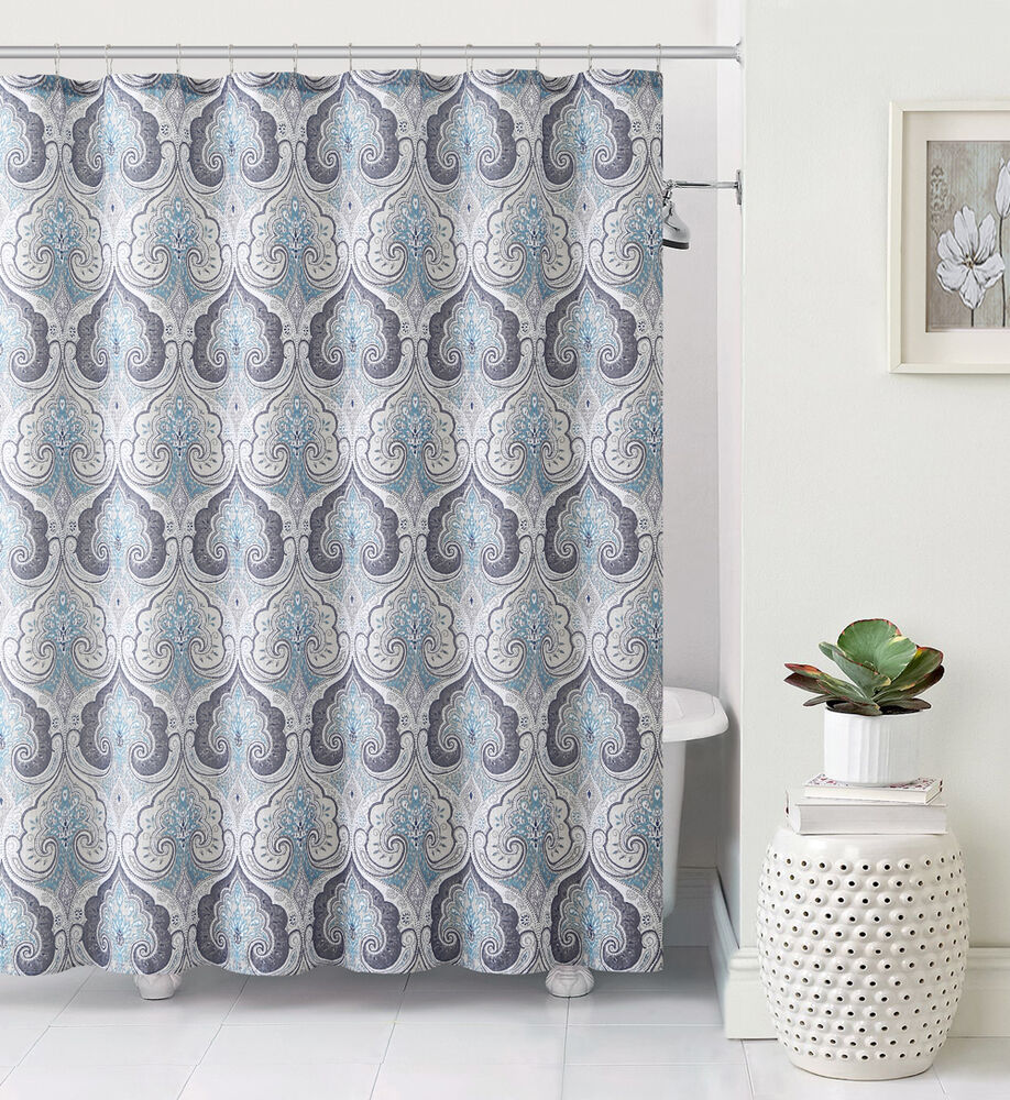 Lawrence beryl blue gray taupe teal aqua paisley fabric for What color curtains go with taupe walls