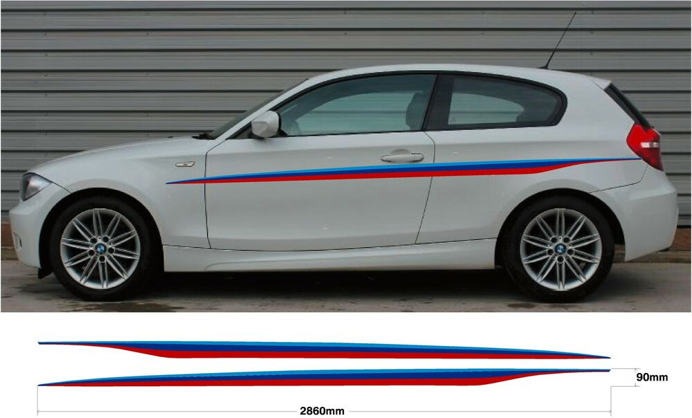 2x Car Decal Graphic Side Stripes Bmw M Sport 1 Series E87