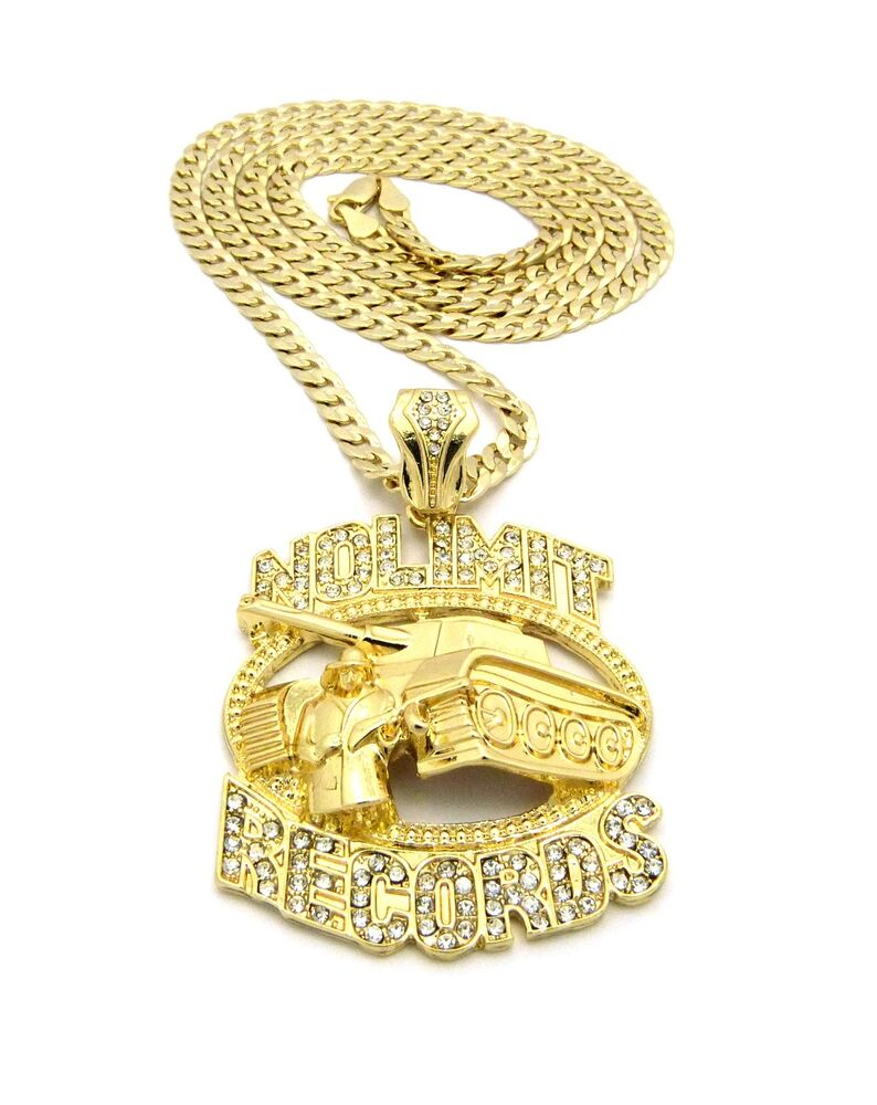 """ICED OUT NO LIMIT RECORDS TANK PENDANT 30"""" VARIOUS CHAIN ..."""
