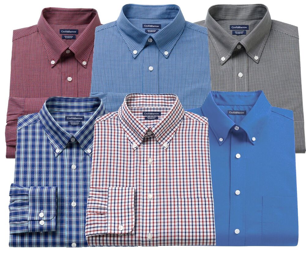 New Croft Barrow Men 39 S Broadcloth Button Down Collar