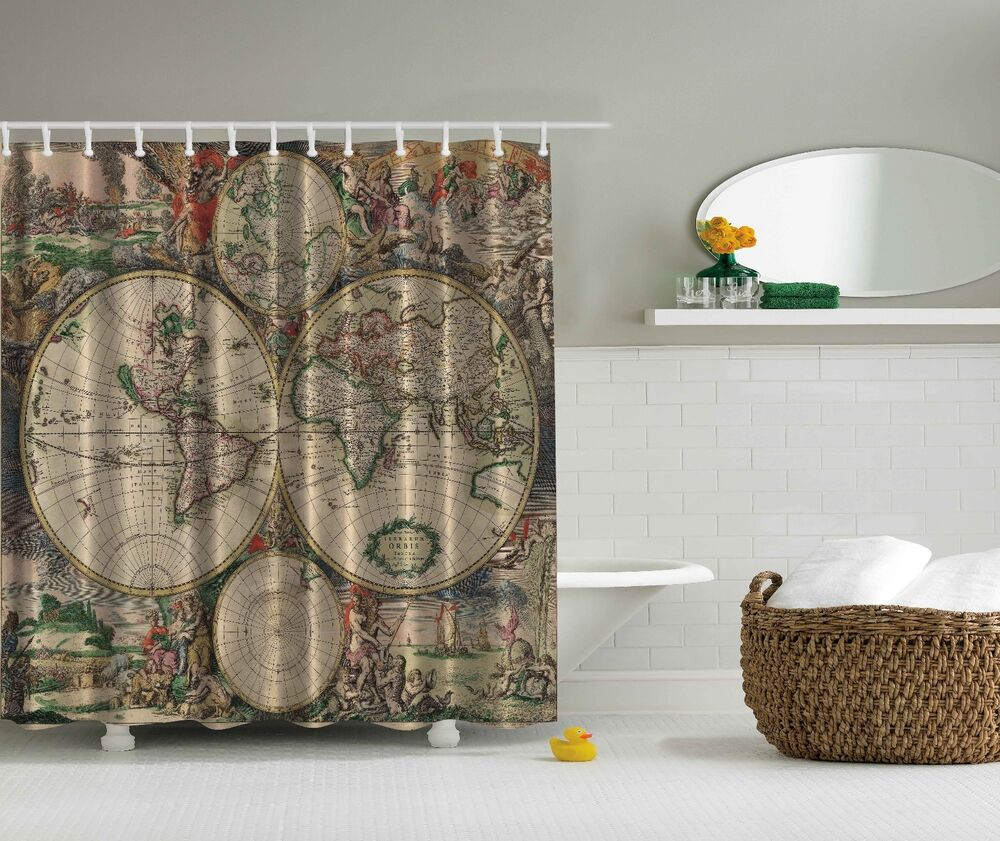 Brown fabric shower curtain 2