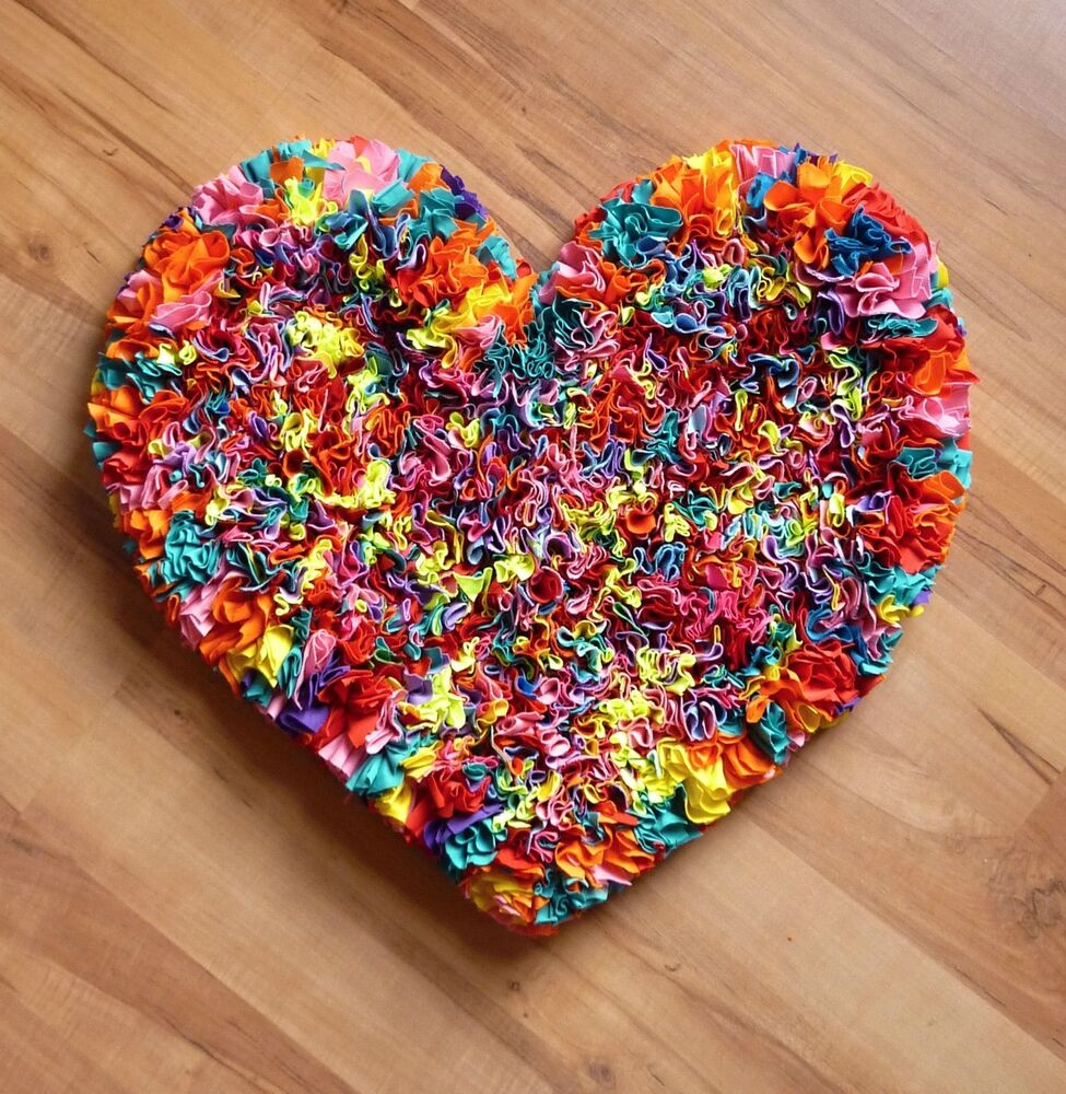 Xl Rag Rug: Rag Rug Shaggy Heart Shape Multi Colour FairTrade Hand