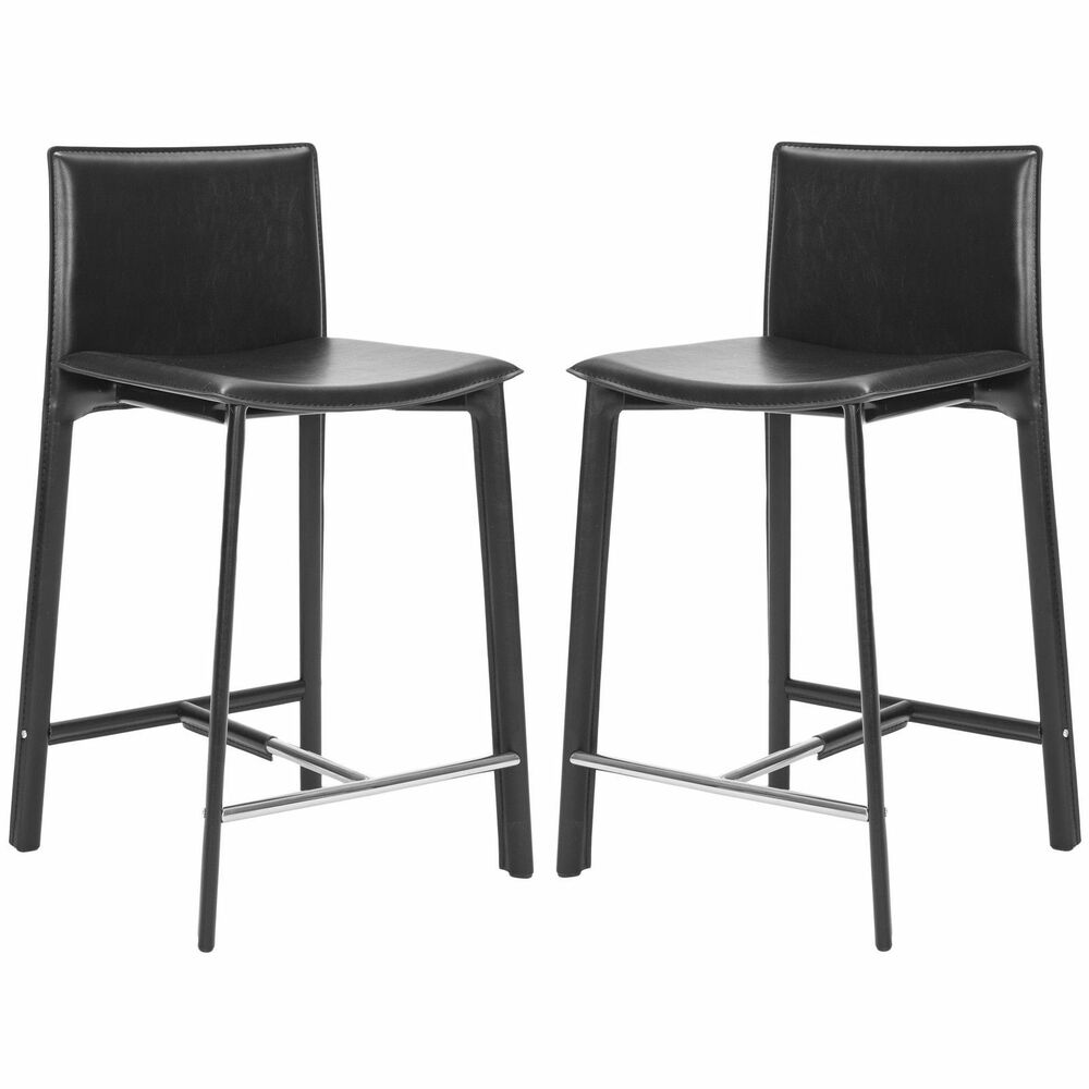 Safavieh Madison Ave Black Leather 24 Inch Counter Stool