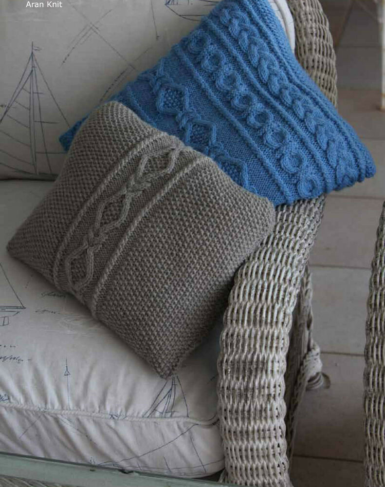 KNITTING Pattern- Aran Cushion Covers- 2 designs to knit for xmas eBay