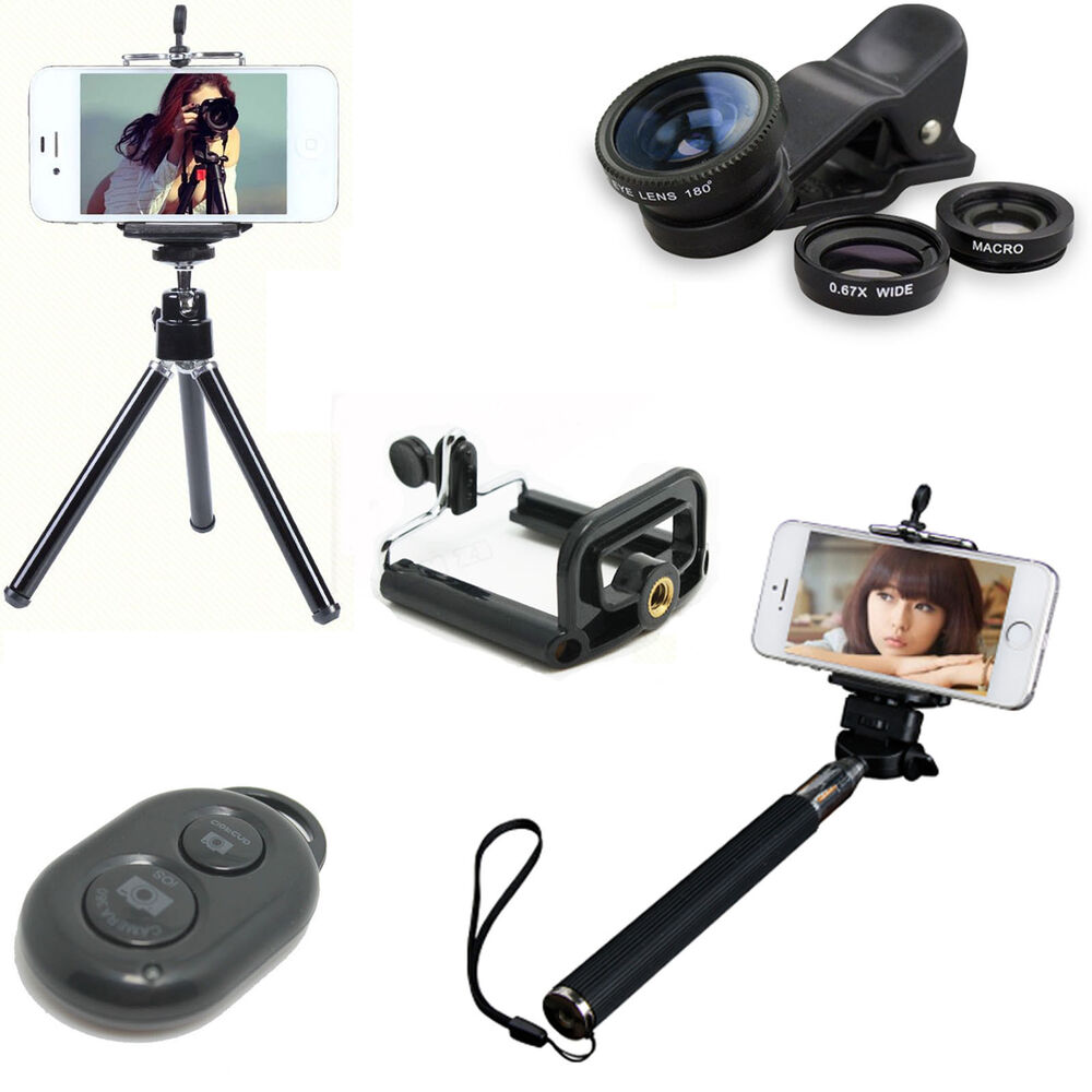 5 in1 bluetooth selfie stick monopod tripod camera lens for iphone 5s 6 plus lot ebay. Black Bedroom Furniture Sets. Home Design Ideas