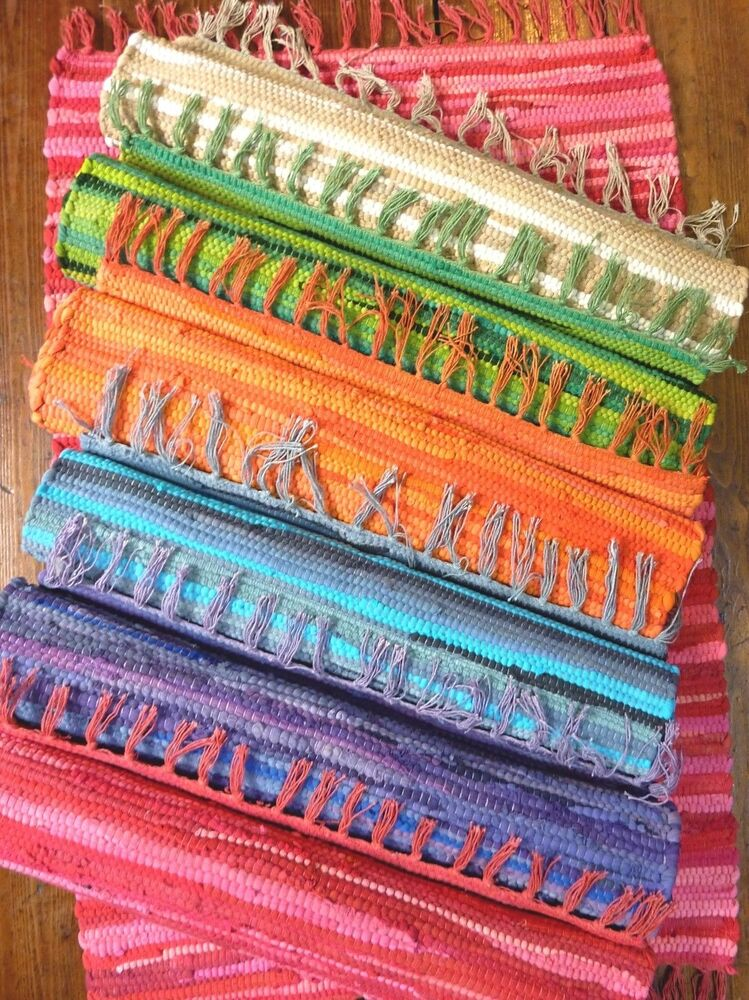 Rag Rug Mat Indian Hand Loomed Fair Trade 100 Recycled
