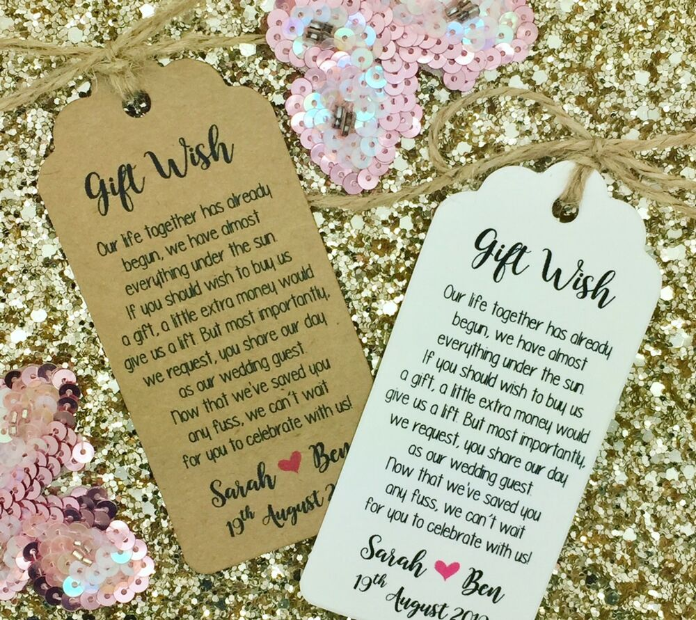 Wedding Gift Poem Cards: Wedding Gift Wish Money Request Poem Card Favour Gift Tag