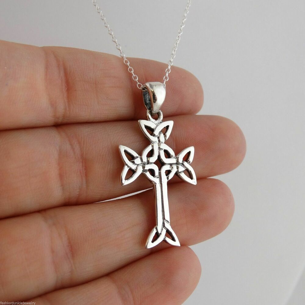 5eeaa775494359 Details about Celtic Trinity Cross Necklace - 925 Sterling Silver - Irish  Celtic Cross Pendnat