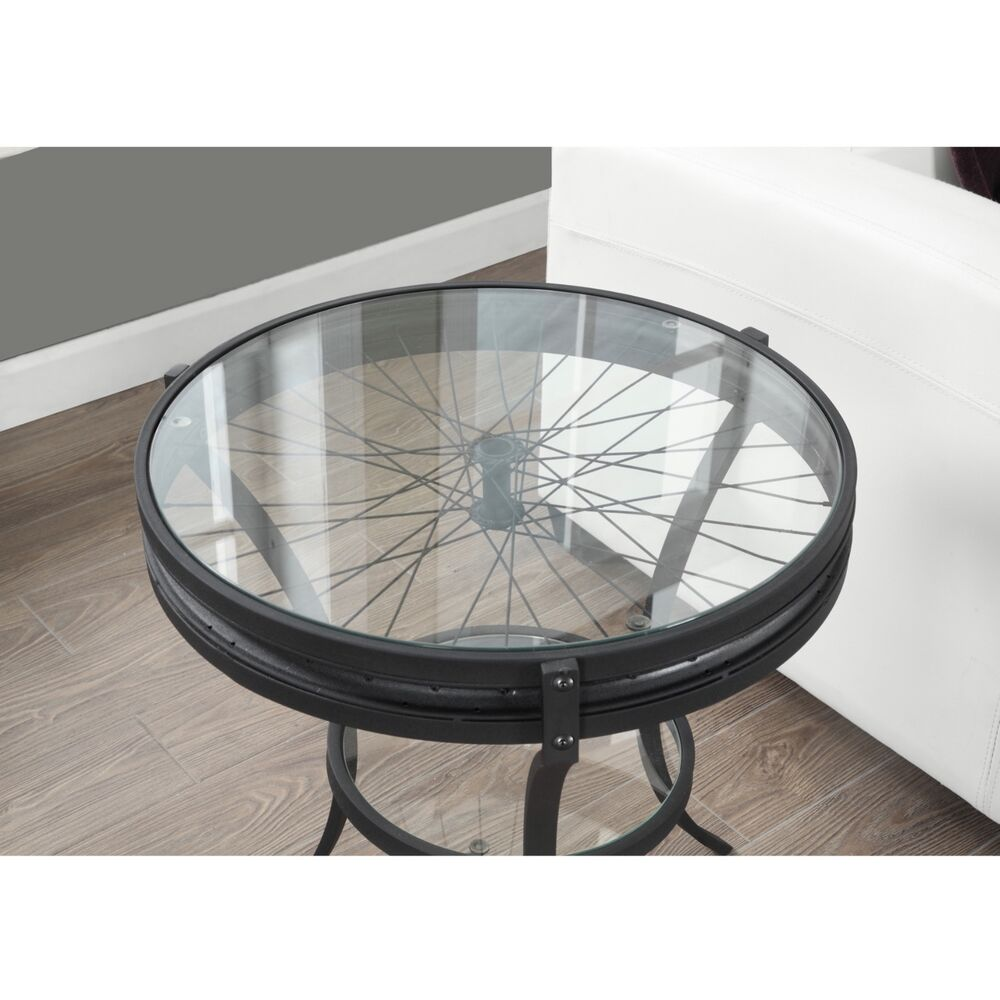 Vintage country styled accent end table industrial round for Glass end tables