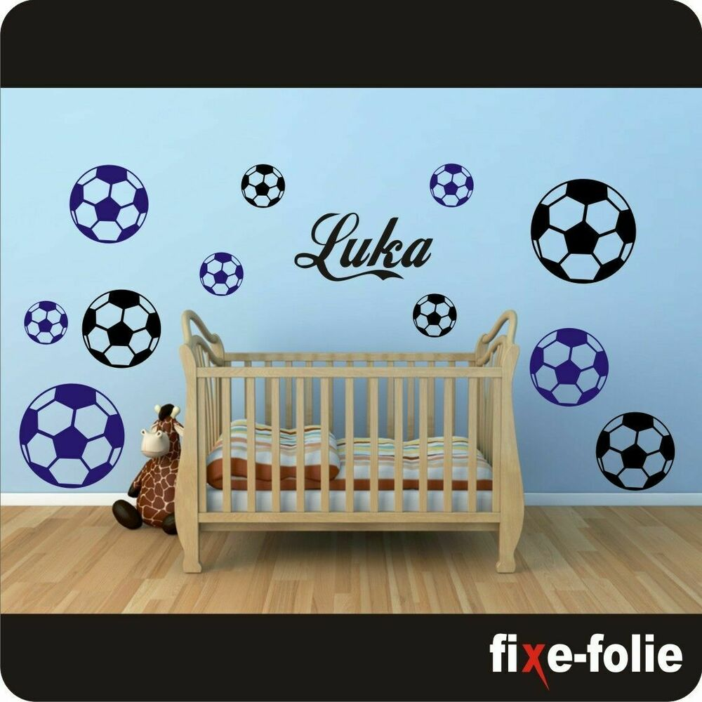 wandtattoo kinderzimmer l wunschnamen l fu b lle l fu ball l ball l name 127 ebay. Black Bedroom Furniture Sets. Home Design Ideas
