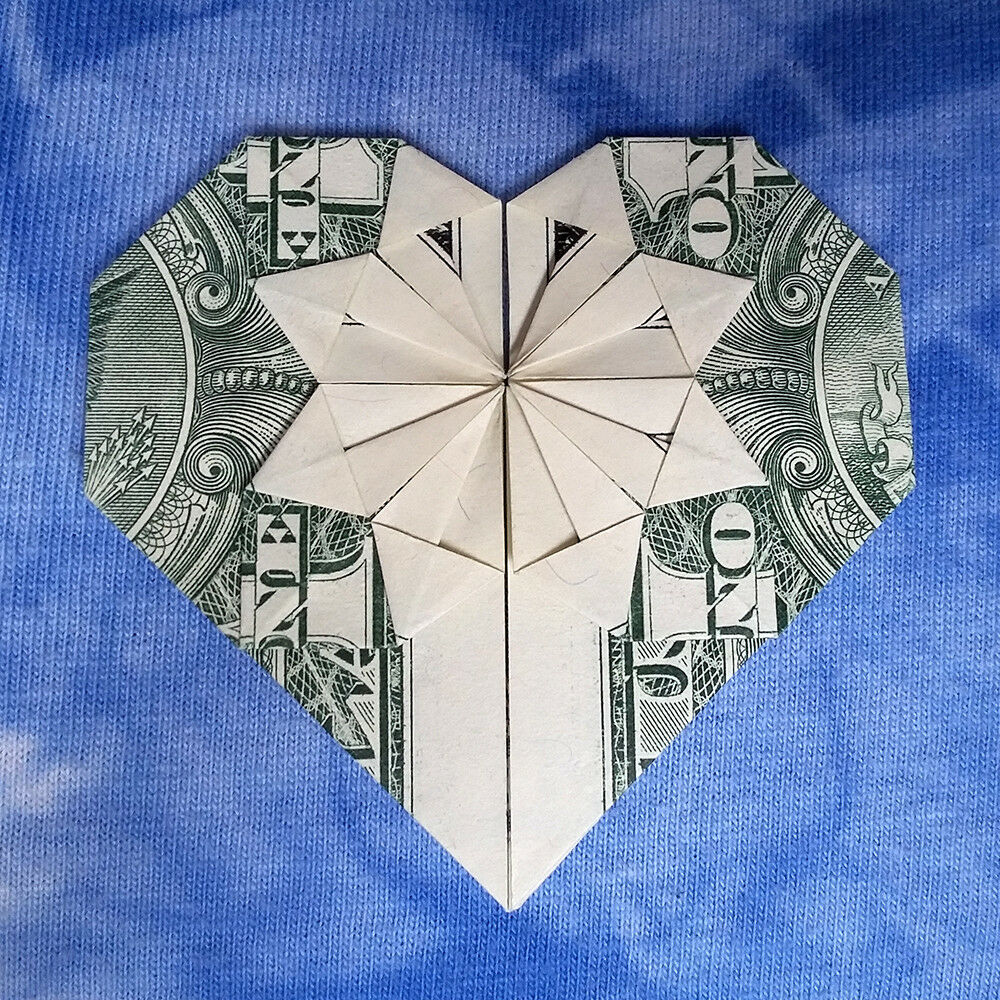 HEART Money Origami Valentine Day Gift Made of Real $1 ... - photo#17