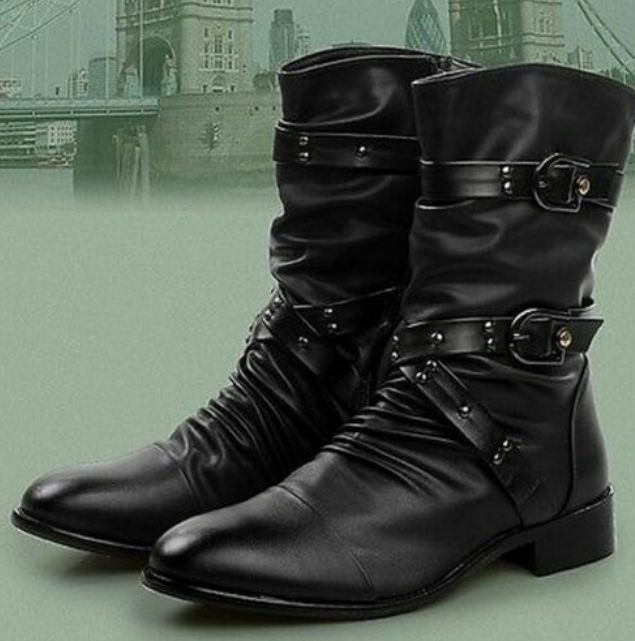 mens fashion leather cool motorcycle ankle boots with