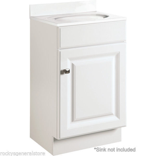 Bathroom vanity cabinet white thermofoil 18 wide x 16 for Bathroom cabinets 25cm wide
