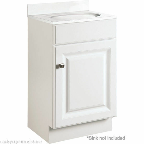bathroom vanity cabinet white thermofoil 18 wide x 16 deep new f